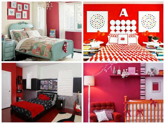 como usar parede vermelha em quarto
