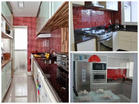 pastilhas vermelhas na cozinha