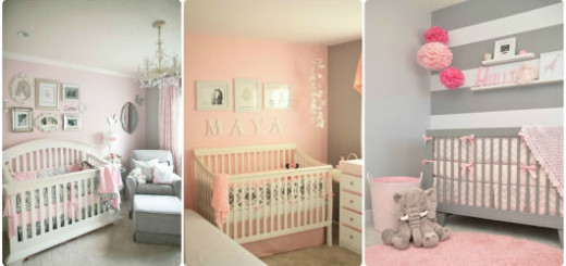 quarto bebê rosa e cinza