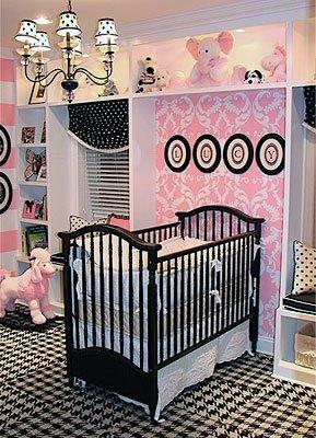 quarto bebê rosa e preto