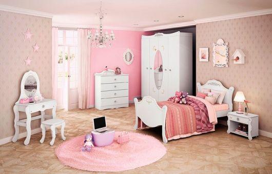 quarto rosa e branco feminino
