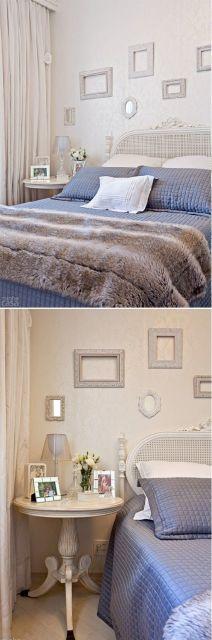 decoração quarto de casal azul e branco
