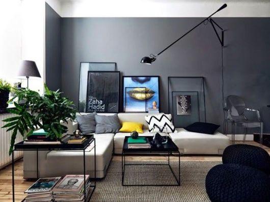 70 tapetes para sala de estar e tv imperd veis - Mur gris anthracite salon ...
