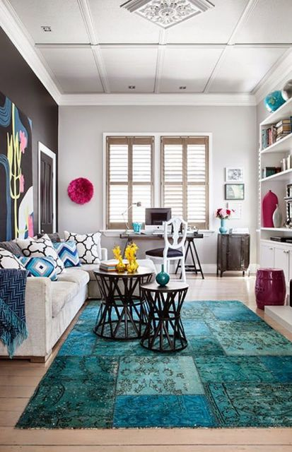 70 tapetes para sala de estar e tv imperd veis for Sala de estar turquesa