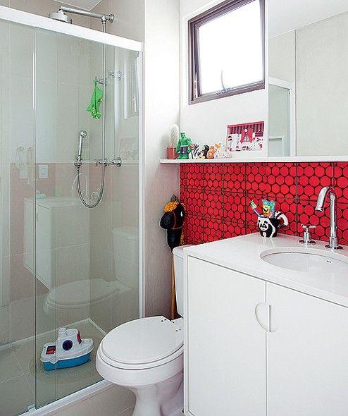 BANHEIRO VERMELHO 35 Dicas, Combinações e Tons -> Banheiros Planejados Vermelho