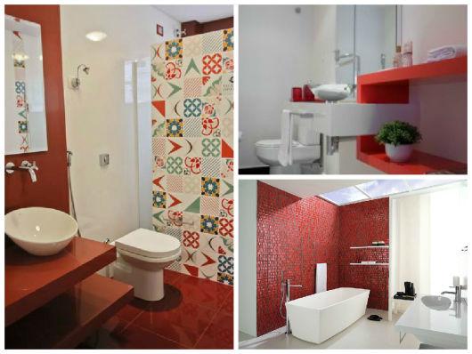 BANHEIRO VERMELHO 35 Dicas, Combinações e Tons # Decoracao De Banheiro Com Cuba Vermelha