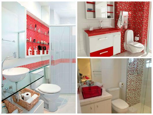 banheiro decorado com vermelho