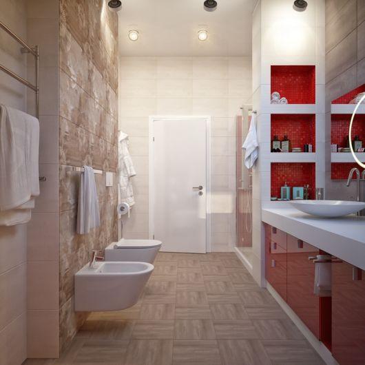 BANHEIRO VERMELHO 35 Dicas, Combinações e Tons -> Nicho Vermelho Banheiro