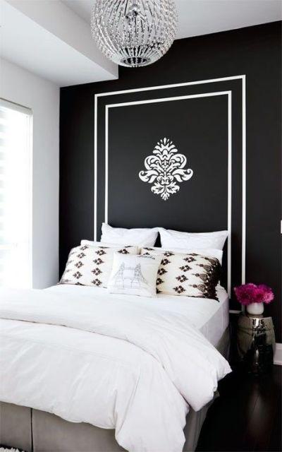 cabeceira pintada na parede
