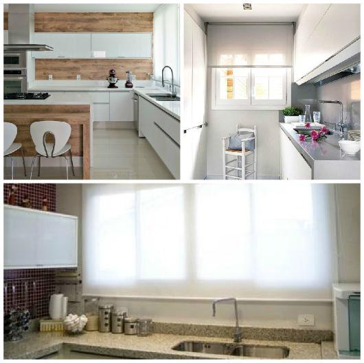 cozinha com cortina rolo