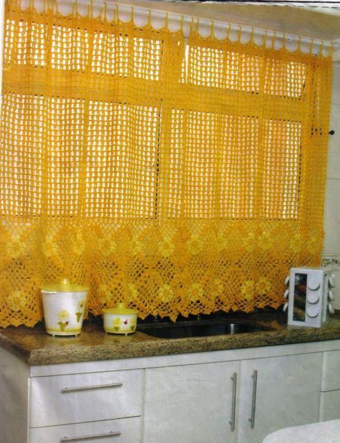 cortina de crochê na cozinha