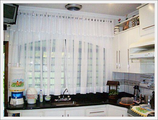 cortina para cozinha moderna branca