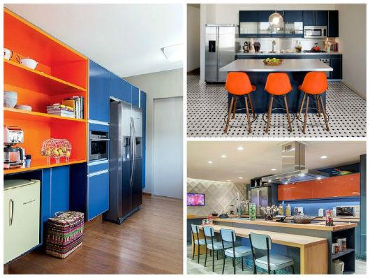 cozinha azul e alaranjada