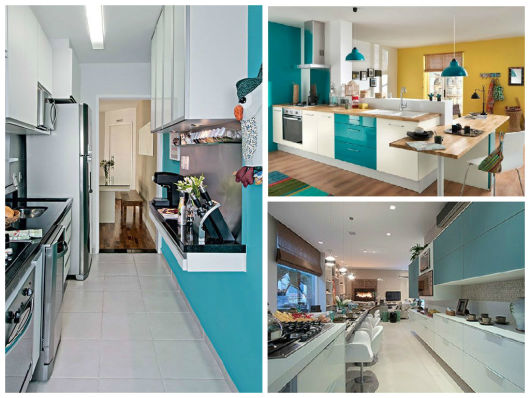 COZINHA AZUL 40 Modelos, Tons, Fotos e Dicas! # Cozinha Planejada Na Cor Azul Turquesa
