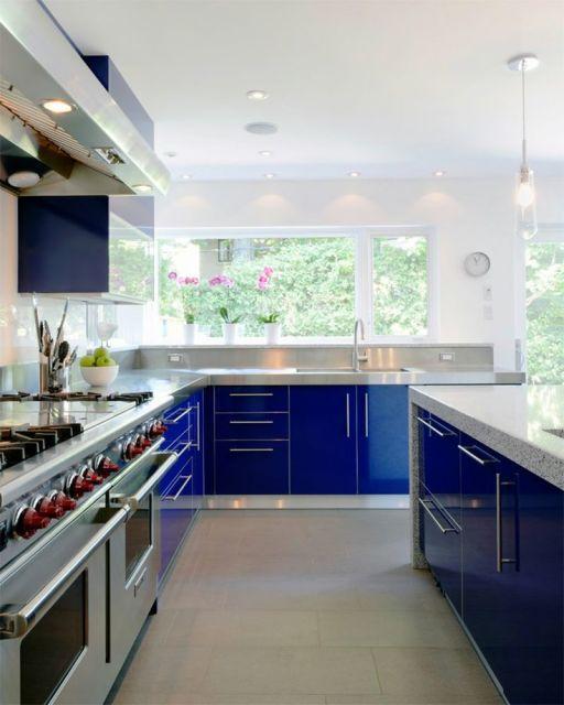Royal Blue Kitchen Cabinets: COZINHA AZUL: 40 Modelos, Tons, Fotos E Dicas