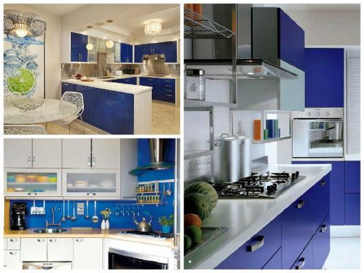 COZINHA AZUL 40 Modelos, Tons, Fotos e Dicas! # Armario De Cozinha Planejado Azul
