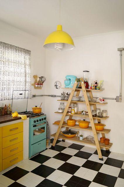 cozinha turquesa e amarela