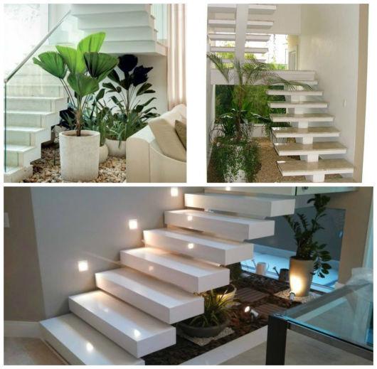 escada jardim embaixo:combinação de vasos de diferentes tamanhos fica linda