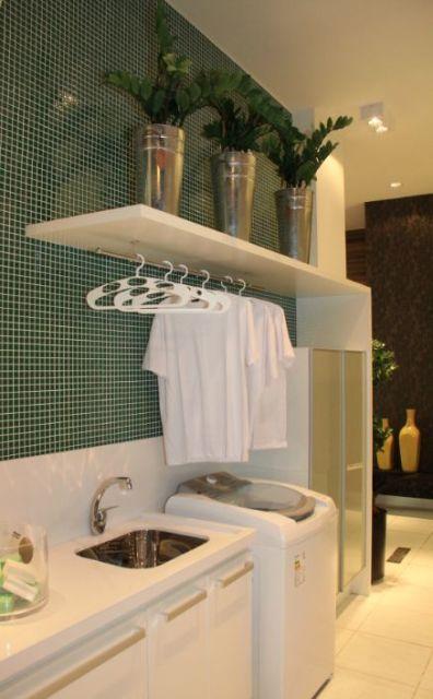 Lavanderia pequena como organizar e decorar for Cocinas pequenas con lavanderia
