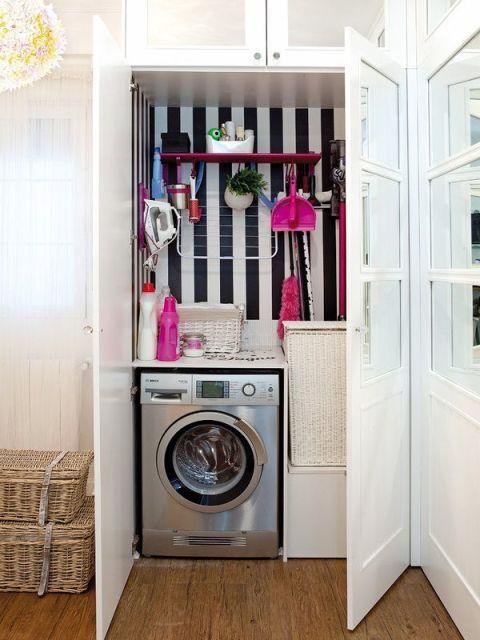 Lavanderia pequena como organizar e decorar - Como decorar un armario ...