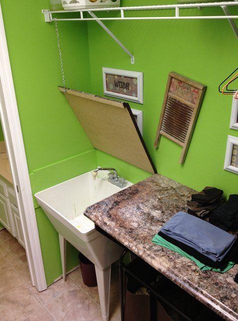 Hinged Counter Tops : Lavanderia pequena como organizar e decorar