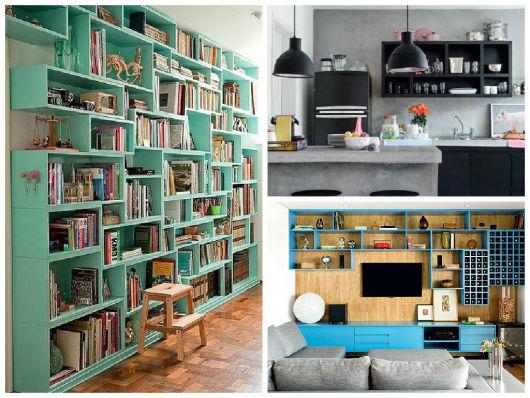 estantes coloridas