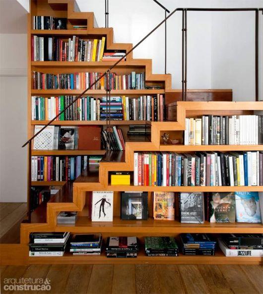 80 modelos de estantes como fazer fotos dicas - Escaleras para bibliotecas ...