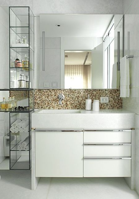 80 MODELOS DE ESTANTES Como Fazer, Fotos, Dicas! -> Armario De Banheiro Com Tampo De Granito