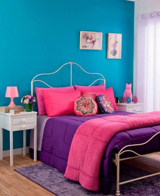 quarto de menina com cama de casal
