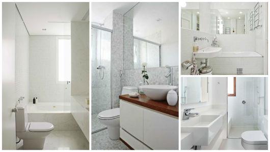 BANHEIRO BRANCO 40 fotos e ideias! -> Decoracao Banheiro Clean