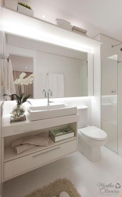 BANHEIRO BRANCO 40 fotos e ideias! -> Banheiro Pequeno E Clean