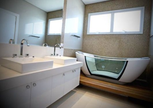Banheiro Pequeno com Banheira 25 Ideias pra Você!  Blog Siote -> Fotos De Banheiro Com Banheira Pequeno