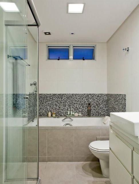 Banheiro Pequeno com Banheira 25 Ideias pra Você!  Blog Siote -> Banheiro Pequeno Com Banheira De Alvenaria