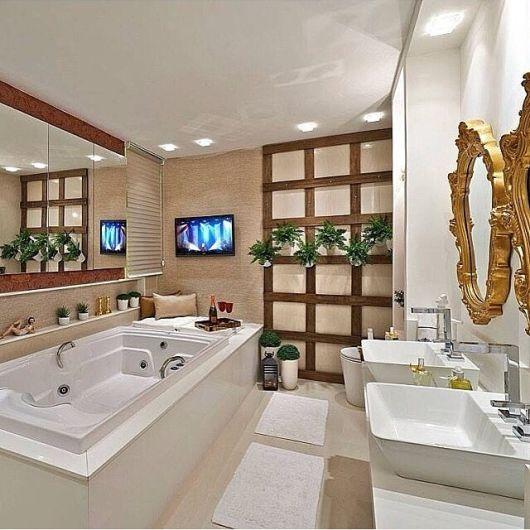 Banheiros com Banheiras 50 fotos e projetos maravilhosos! -> Ideias Para Banheiro Com Banheira
