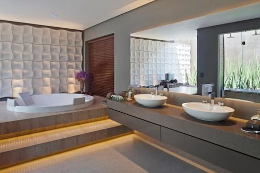 Banheiros com Banheiras 50 fotos e projetos maravilhosos! # Tamanho Ideal Banheiro Com Banheira