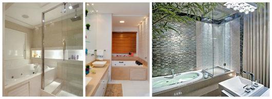 Banheiros com Banheiras 50 fotos e projetos maravilhosos! -> Projeto De Banheiro Com Banheira E Box