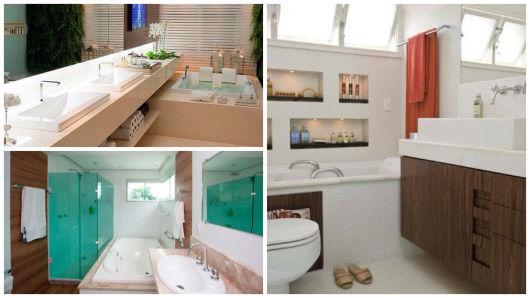 Banheiros com Banheiras 50 fotos e projetos maravilhosos! -> Decoracao De Banheiro Com Banheira Antiga