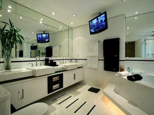 Banheiros com Banheiras 50 fotos e projetos maravilhosos! -> Banheiro Medio Com Banheira