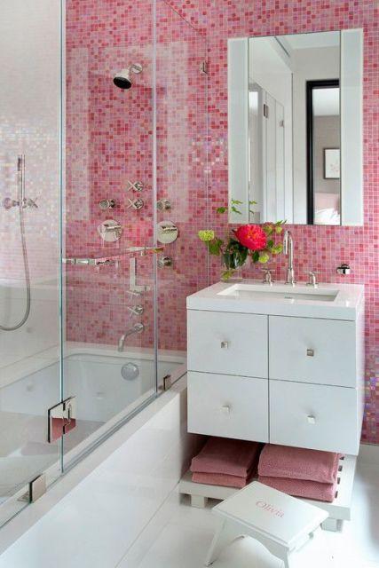 BANHEIRO ROSA DECORADO fotos e inspirações! -> Banheiro Rosa Simples