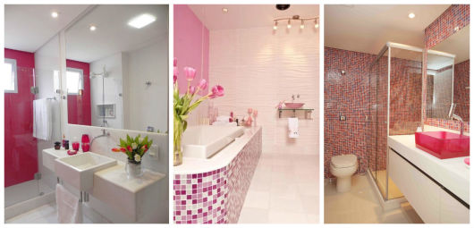 BANHEIRO ROSA DECORADO fotos e inspirações! # Banheiro Pequeno Decorado Rosa