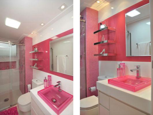 BANHEIRO ROSA DECORADO fotos e inspirações! -> Banheiro Decorado Com Pastilhas Rosa