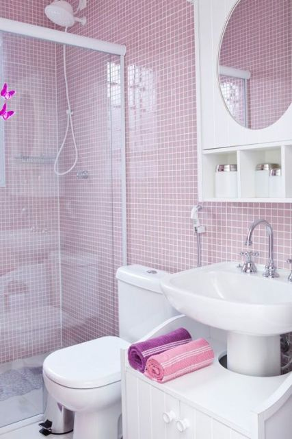 BANHEIRO ROSA DECORADO fotos e inspirações! -> Decoracao Para Banheiro Infantil De Eva