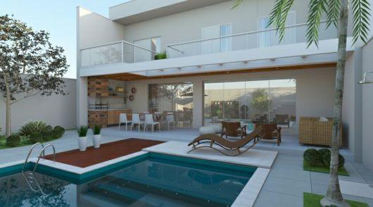 Casas com piscinas projetos e fotos for Piscinas modernas para casas