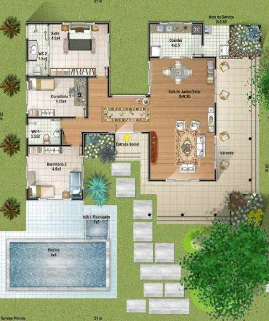 Casas com piscinas projetos e fotos for Plantas para piscinas