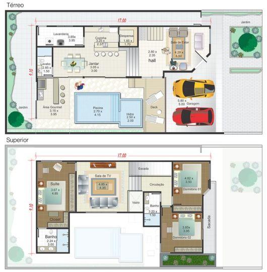 Casas com piscinas projetos e fotos for Medidas de piscinas de casas