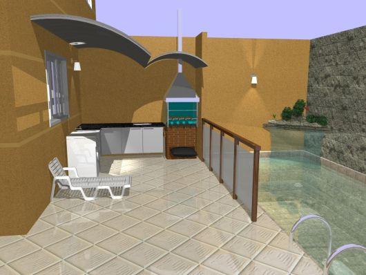 projeto piscina com churrasqueira