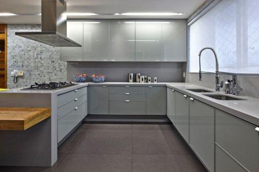 COZINHA CINZA combinações e inspirações! # Cozinha Planejada Cinza E Branco