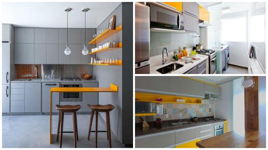 cozinha amarela e cinza