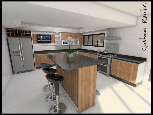 projeto cozinha com TV