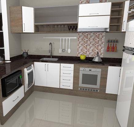 cozinha marrom e branca